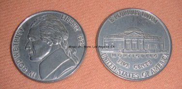 "Jumbo Nickel, 3"" Round, Metal Coin (1877)"