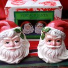 Ominibus by FITZ AND FLOYD Vintage Santa Face Salt And Pepper Shakers in Box