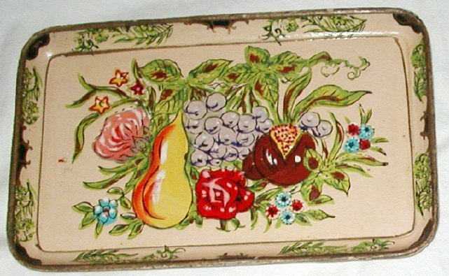 UNIQUE Vintage PAPER MACHE Tole Tray BLUE & RED FLORAL!
