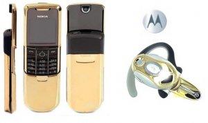 """Nokia 8800 """"James Bond Gold"""" GSM Slider Cellular Mobile Phone + H700 Gold Bluetooth (Unlocked)"""