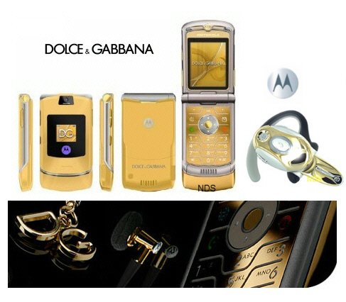 "Dolce & Gabbana ""Limited Gold Edition"" - V3I Mobile Cellular Phone + H700 Gold Bluetooth (Unlocked)"