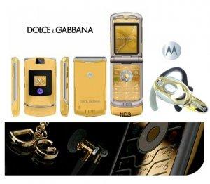 "Dolce & Gabbana ""Limited Gold Edition"" - V3I Mobile Cellular Phone + H700 Gold Bluetooth (Unlocked)"
