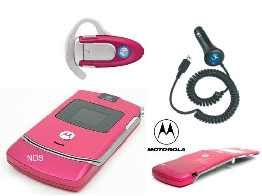 "Motorola V3 ""Pink"" Razr Bluetooth Combo + Car Charger (Unlocked)"