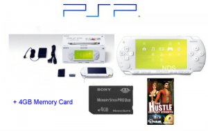 """Sony PSP Limited Edition """"Ceramic White"""" Bundle with One """"Hot"""" PSP Game + 4GB Memory Card"""