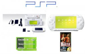 "Sony PSP Limited Edition ""Ceramic White"" Bundle with One ""Hot"" PSP Game + 512MB Memory Card"