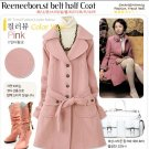 SD6134 # fashion wholesale ;lapel Long classic cashmere coat - Pink