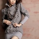 XF1215 # korea fashion double silver buckle lotus leaf coat - gray