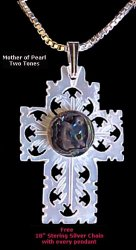 Mother of Pearl - 2 Tone Cross Round
