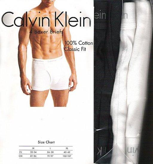 CK CALVIN KLEIN MENS Boxer BRIEFS Cotton CK Boxers/Underwear B/W 4pcs@1pk size Large 36-38, EU 91-97