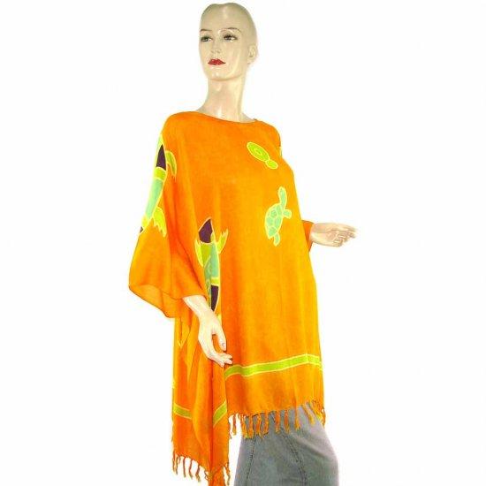 Hand-Drawn Orange Turtle Batik Poncho Tunic Kaftan Caftan Blouse 1X 2X 3X 4X 5X (MN4856)