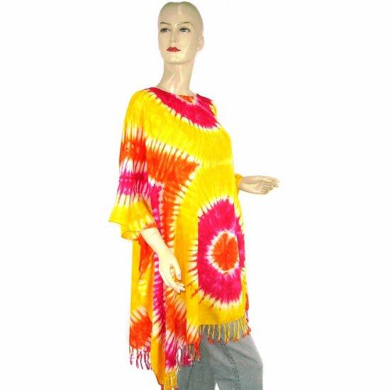 Hippie Tie-Dye Batik Poncho Tunic Kaftan Caftan Blouse 1X 2X 3X 4X 5X (MN5089)