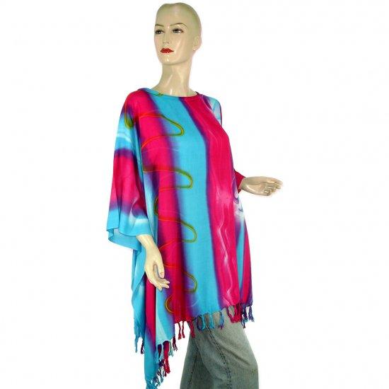 Hippie Tie-Dye Batik Poncho Tunic Kaftan Caftan Blouse 1X 2X 3X 4X 5X (MN5142)