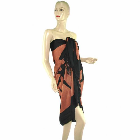 Brown Aborigines Batik Sarong Pareo Skirt Dress Wrap Shawl Beach Cover-Up (MP9)