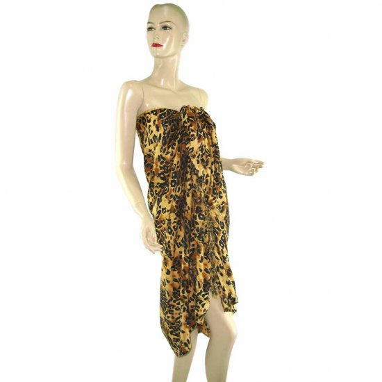 Brown Leopard Print Sarong Pareo Skirt Dress Wrap Shawl Beach Cover-Up (MP21)