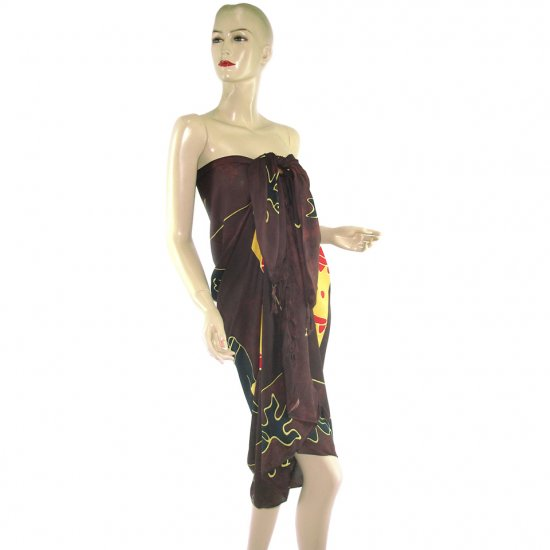 Brown Aborigines Batik Sarong Pareo Skirt Dress Wrap Shawl Beach Cover-Up (MP36)