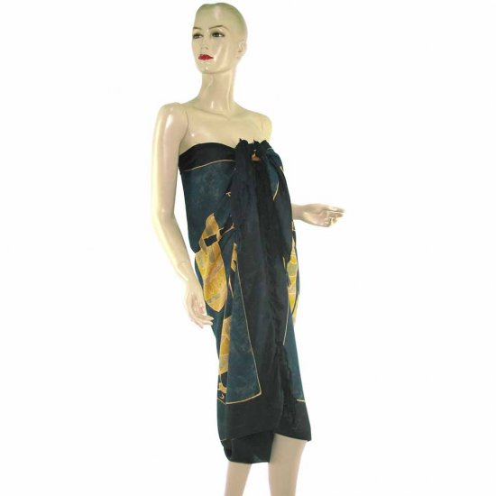 Blue Black Aborigines Batik Sarong Pareo Skirt Dress Wrap Shawl Beach Cover-Up (MP40)