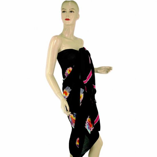 Black Fish Batik Sarong Pareo Skirt Dress Wrap Shawl Beach Cover-Up (MP60)