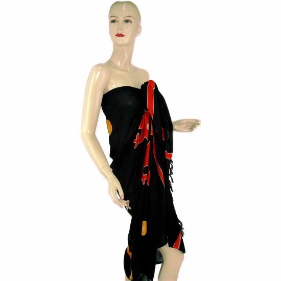 Black Gecko Batik Sarong Pareo Skirt Dress Wrap Shawl Beach Cover-Up (MP71)