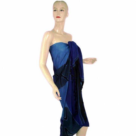 Blue Abstract Batik Sarong Pareo Skirt Dress Wrap Shawl Beach Cover-Up (MP74)