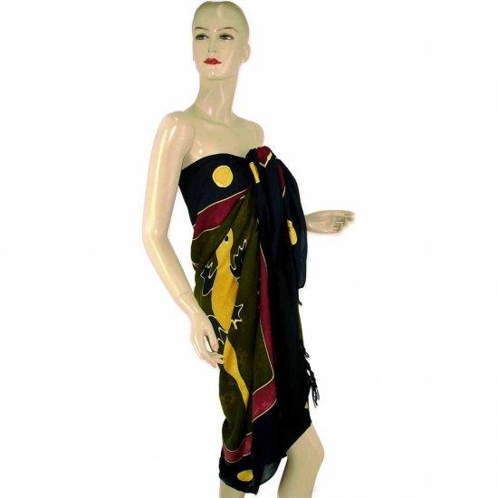 Olive Green Gecko Batik Sarong Pareo Skirt Dress Wrap Shawl Beach Cover-Up (MP75)