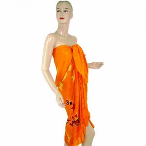 Orange Gecko Batik Sarong Pareo Skirt Dress Wrap Shawl Beach Cover-Up (MP78)