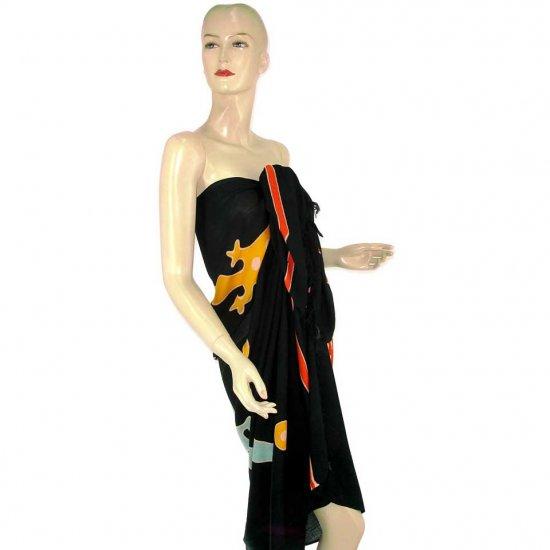 Black Gecko Batik Sarong Pareo Skirt Dress Wrap Shawl Beach Cover-Up (MP115)