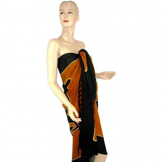 Brown Black Abstract Gecko Batik Sarong Pareo Skirt Dress Wrap Shawl Beach Cover-Up (MP121)