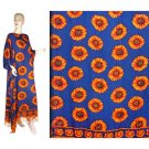 Blue Orange Sunflower Floral Kaftan Caftan Dress 1X 2X 3X 4X 5X (FK49)