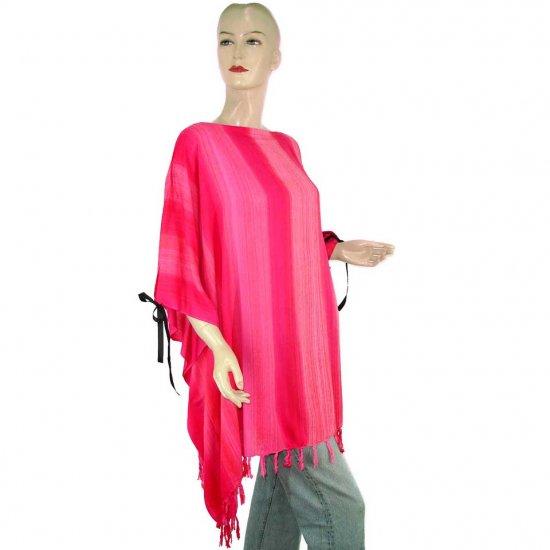 Pink Stripes Poncho Tunic Kaftan Caftan 1X 2X 3X 4X 5X (PAB63)