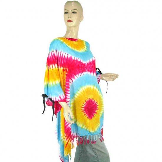 Hippie Tie-Dye Batik Poncho Tunic Kaftan Caftan Blouse 1X 2X 3X 4X 5X (PAB37)