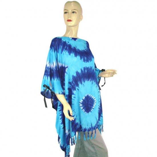 Hippie Tie-Dye Batik Poncho Tunic Kaftan Caftan Blouse 1X 2X 3X 4X 5X (PAB38)