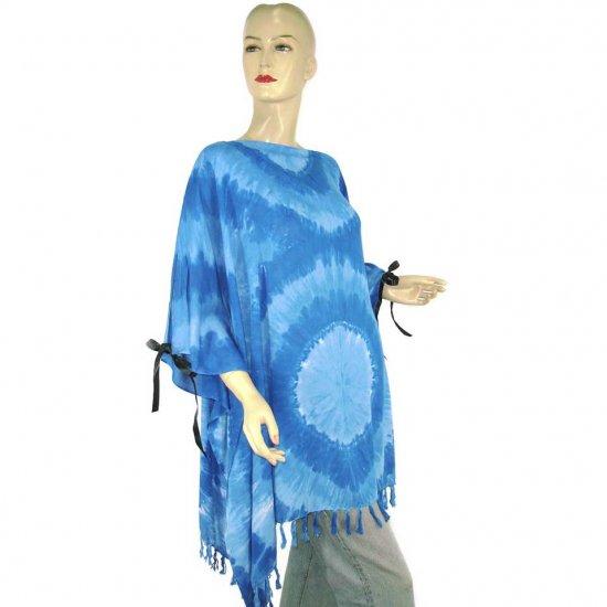Hippie Tie-Dye Batik Poncho Tunic Kaftan Caftan Blouse 1X 2X 3X 4X 5X (PAB52)
