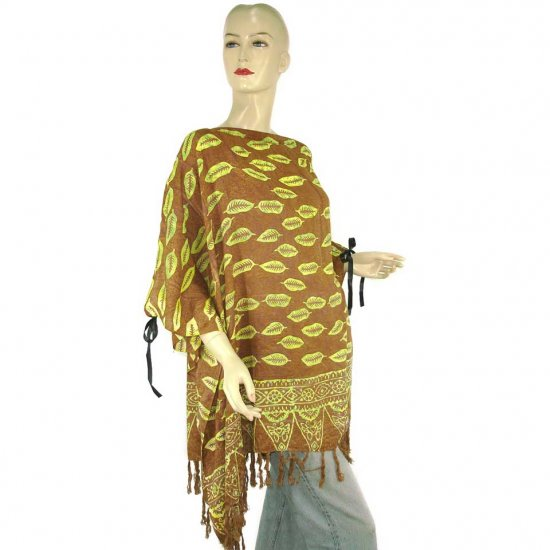 Hand-Drawn Brown Leaf Batik Poncho Tunic Kaftan Caftan Blouse 1X 2X 3X 4X 5X (PAB55)