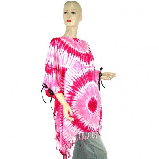 Hippie Tie-Dye Batik Poncho Tunic Kaftan Caftan Blouse 1X 2X 3X 4X 5X (PAB56)