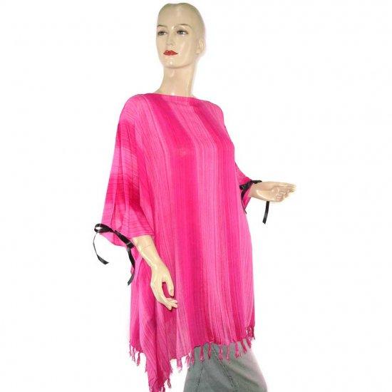 Pink Stripes Poncho Tunic Kaftan Caftan 1X 2X 3X 4X 5X (PAB15)