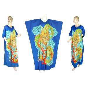 Hand-Drawn Blue Dragon Batik COTTON Kaftan Caftan Dress 1X 2X 3X 4X 5X (K32)