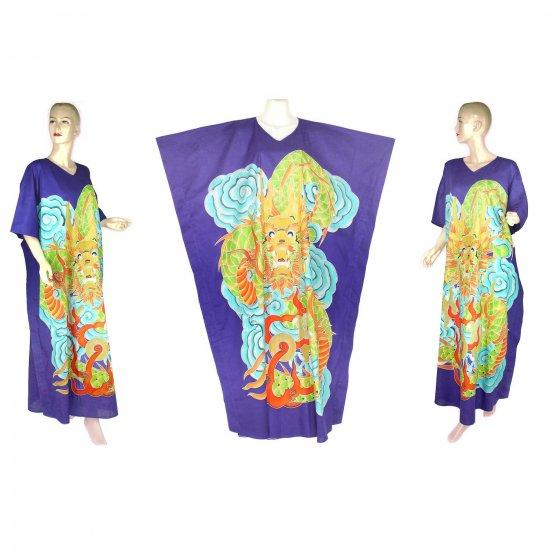 Hand-Drawn Royal Blue Dragon Batik COTTON Kaftan Caftan Dress 1X 2X 3X 4X 5X (K29)