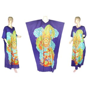 Hand-Drawn Royal Blue Dragon Batik COTTON Kaftan Caftan Dress 1X 2X 3X 4X 5X (K29)