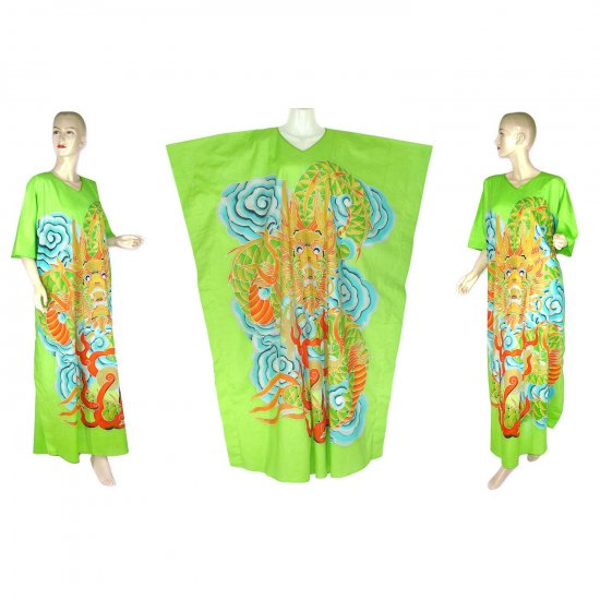 Hand-Drawn Green Dragon Batik COTTON Kaftan Caftan Dress 1X 2X 3X 4X 5X (K31)