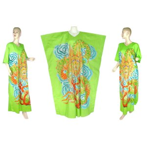 Hand-Drawn Green Dragon Batik COTTON Kaftan Caftan Dress 1X 2X 3X 4X 5X (K31)