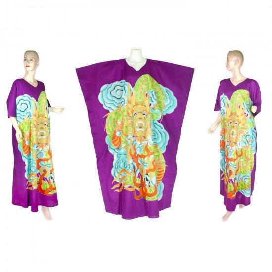 Hand-Drawn Purple Dragon Batik COTTON Kaftan Caftan Dress 1X 2X 3X 4X 5X (K30)