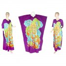 Hand-Drawn Purple Dragon Batik COTTON Kaftan Caftan Dress 1X 2X 3X 4X 5X (K30)
