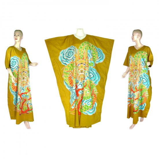 Hand-Drawn Gold Dragon Batik COTTON Kaftan Caftan Dress 1X 2X 3X 4X 5X (K28)