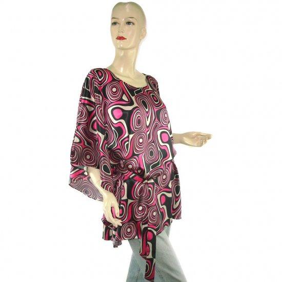 Black Pink Gray Abstract Gypsy Boho Poncho Tunic Kaftan Caftan Blouse + Sash 8 10 12 14 16 (MC228)