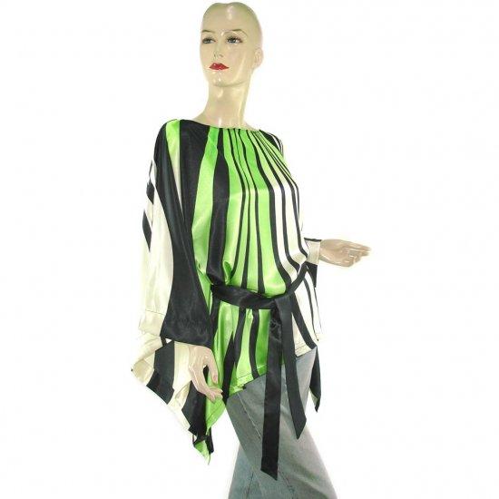 Black Green Abstract Gypsy Boho Poncho Tunic Kaftan Caftan Blouse + Sash 8 10 12 14 16 (MC233)
