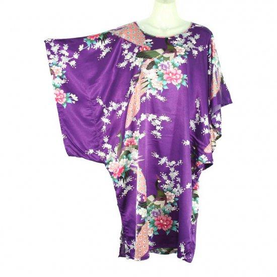 Purple Oriental Floral Peacock Kimono Sleeve Tunic Top Kaftan L XL 1X (MC226)