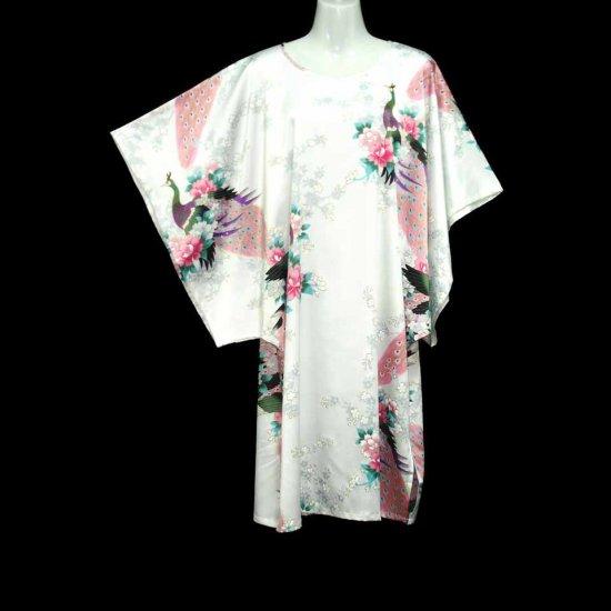White Oriental Floral Peacock Kimono Sleeve Tunic Top Kaftan L XL 1X (MC216)