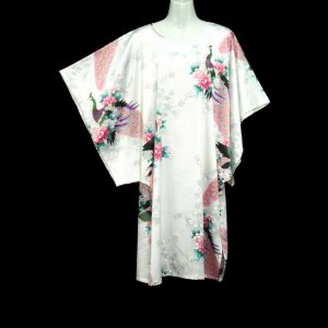 White Oriental Floral Peacock Kimono Sleeve Tunic Top Kaftan L XL 1X (MC216)