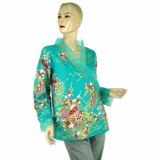Aquamarine Teal Kimono Blouse Tunic Kaftan Caftan Oriental Floral Prints XS S M (MC17)