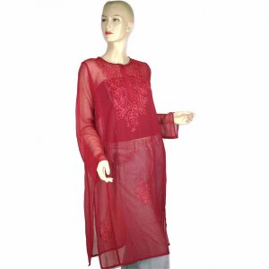 Sheer Burgundy Indian Embroidered Kurta Blouse Tunic Kaftan Caftan With Sequins 10 12 14 (MC195)